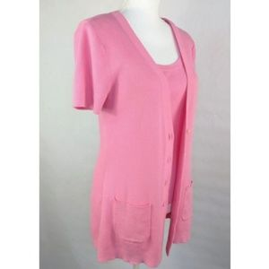 LRL M Pink Cotton Slouch Pocket Tank + S/S Top $80